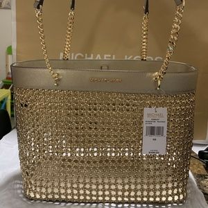 Michael Kors Kinsley Lrg Gold Braided Leather Tote